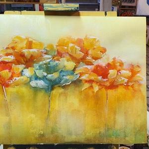Narancsos melegség, Otthon & lakás, Képzőművészet, Festmény, Akvarell, Festészet, Melegség járja át a lelked, szép a szemnek és a léleknek:)\n\nSaját ötlet és eredeti kézi festésem, ak..., Meska