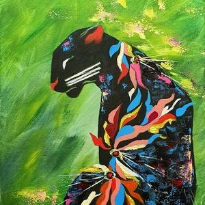 Fekete  - színes leopárd , Otthon & lakás, Képzőművészet, Festmény, Akril, Festészet, Leopárd, absztrakt feldolgozásban, sok sok színnel, fantáziával :) \n\n40 x 50 cm-es feszített vászora..., Meska