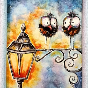 Na mi a stájsz, avagy könnyed cseves lámpafénynél , Otthon & lakás, Képzőművészet, Festmény, Akvarell, Festészet, Kedves akvarell festés, humor és hangulat :) \n\n13 x 18 cm-es , 300/m2 -es akvarell lapon akvarell fe..., Meska