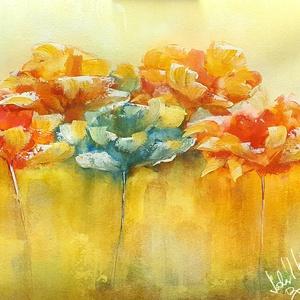 Narancsos melegség , Otthon & lakás, Képzőművészet, Festmény, Akril, Festészet, Melegség, finomság, fémnyek :) \n\nSaját ötlet és eredeti kézi festés, 42x50 cm, 300-as akvarell lapon..., Meska