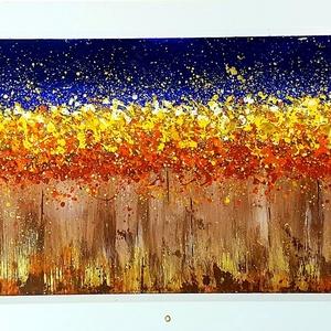 Aranyló erdő, Akril, Festmény, Művészet, Festészet, Szép színfolt és hangulat a lakás bármelyik falán, szép otthon dekoráció:) \n\n44 x 100 cm-es laminált..., Meska