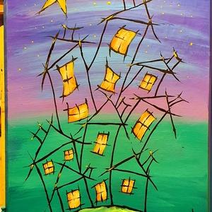 Meseéj város, Akril, Festmény, Művészet, Festészet, Réges régi bútorajtóra  festett mesevilág hangulat:)\n34x43 cm-es felületen akril festés, vízbázisú l..., Meska