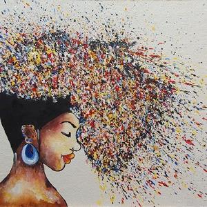 Színes hajú 5., Művészet, Festmény, Akril, Festészet, 47x36 cm-es újrahasznosított farosra készült akril festésem, színekkel, formákkal.\n\nEredeti festés, ..., Meska