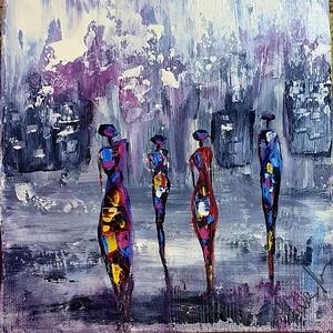 Elegánsak 2. - Indulás Pinkiába , Akril, Festmény, Művészet, Famegmunkálás, Festészet, Ezt a szépet, egyedit, cukkkki divatos témát kézzel festettem  és  munkáltam meg a fát, erre került ..., Meska