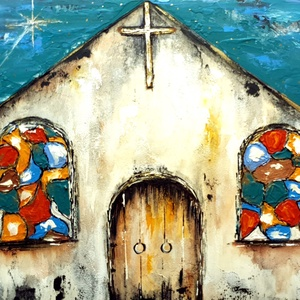 Hit-SzínHáz ( közelgő Karácsony...) , Művészet, Festmény, Akril, Famegmunkálás, Festészet, Újrahasznosítottam egy szép darab, 42x28 cm-es ( 3 cm vastag )   igazi falapot, alapoztam, akril fes..., Meska