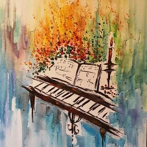 Zene -világ 6., Művészet, Festmény, Akril, Festészet, Egy sorozatom 6. darabja, zene, világ, hangulat, színek:)\n\n30x40 cm-es vászonfedett farostra készült..., Meska
