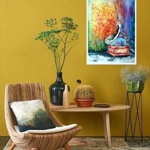 Zene -világ 7., Művészet, Festmény, Festészet, Egy sorozatom 7. darabja, zene, világ, hangulat, színek:)\n\n32x43 cm-es Raffaelo akvarell lapra készü..., Meska