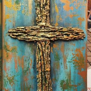 Kereszt-ség-Hit, Művészet, Festmény, Akril, Famegmunkálás, Festészet, Réges régi faanyagra megálmodott akril festés, textúra anyagokkal:aranyság-várakozás-hit-szépség.\n\n2..., Meska
