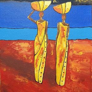 Színes Afrikás , Művészet, Festmény, Akril, Festészet, Színek, hangulat, egyszerű design és Afrika :) \n\n34 x 46 cm-es, újrakasznosított farostra készült ak..., Meska