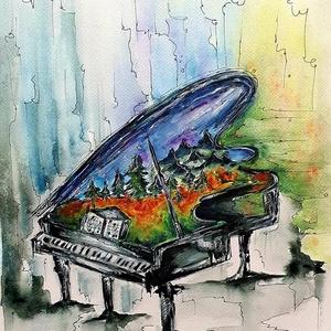 Zene -világ 8., Művészet, Festmény, Akril, Festészet, Egy sorozatom 8. darabja, zene, világ, hangulat, színek:)\n\n30x40 cm-es , 250 g/m2 -es Fabriano akvar..., Meska