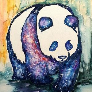 Téli éj pandus, Művészet, Festmény, Akril, Festészet, 30 x 40 cm-es felületkezelt farostra  készült akril festésem,  ecsetekkel, akril anyaggal.\n\nPandus i..., Meska