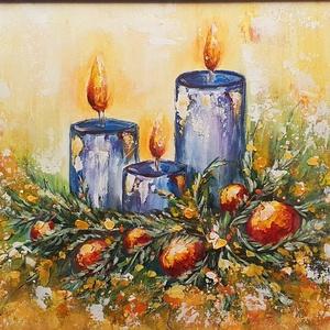 Karácsonyi képeslapos , Művészet, Festmény, Akril, Festészet, Ünnepváró hangulat, színek, akril festésben :) \n\nEredeti ötlet és kézi festés, 30 x 40 cm-es vászonr..., Meska