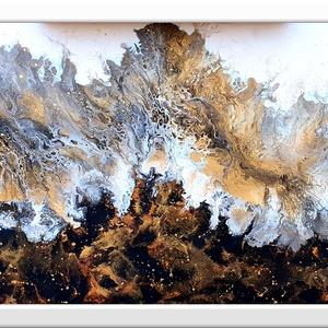 Absztrakt Karácsony éj , Művészet, Festmény, Akril, Festészet, Arany - fekete - fehér színekben, Karácsony - hangulat :) \n\n36 x 50 cm-es feszített vászonra készült..., Meska