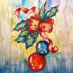 Karácsonyi képeslapos 2., Művészet, Festmény, Akvarell, Festészet, Meska