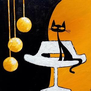 Retro macsek , Művészet, Festmény, Akril, Festészet, Színeiben, egyszerű  formáiban macska, de visszaköszön a régmúlt design-je, nagyon szerettem az ilye..., Meska
