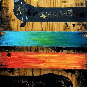 Hosszú színes-eb :) , Művészet, Festmény, Akril, Famegmunkálás, Festészet, Szilveszter napján festegettem, múlt az egyik év, jön a másik :) , színesen, sebesen :) \n\nNagyon rég..., Meska
