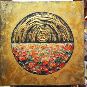 Ragyog a rét felett, Művészet, Festmény, Akril, Festészet, Arany ragyogás, absztrakt tájon :)\n\n40 x40 cm-es Munkácsy feszített vásznon akril festésen festőkéss..., Meska