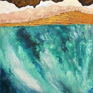 Türkiz tengerparton, Művészet, Festmény, Akril, Festészet, Hangulat, formák, színek kèk mélység felett :) \n\nIgazán nyugalmas hangulatot visz az otthonodba ez a..., Meska