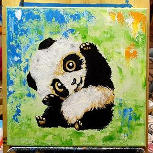 Macus, Művészet, Festmény, Akril, Festészet, Kedves kis teremtmény, színek között, mosolygósan :)\n\nMacit szeretőknek  30 x30 cm-es feszített vász..., Meska