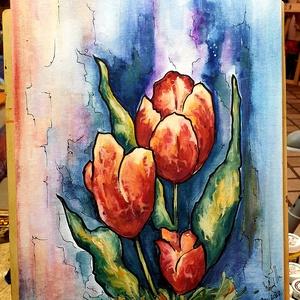 Tulipános, Művészet, Festmény, Akvarell, Festészet, Virághangulat, színesen :)\n\n30 x 40 cm-es vászonfedett lapon akvarell festés szêp hangulatot visz a ..., Meska
