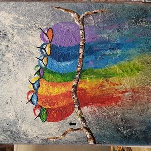 Szivárvány  madarak , Művészet, Festmény, Akril, Festészet, Rusztikus, régi bútor-fa ajtója készült egyedi alkotás, 31 x 52 cm-es, akril festés, ecsetekkel, lak..., Meska
