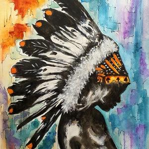 Indián leány, Művészet, Festmény, Akvarell, Festészet, Hangulat, színek, mesélő festésem...\n\n30x40 - es akvarell lapon akvarell festés, eredeti kézi munkám..., Meska