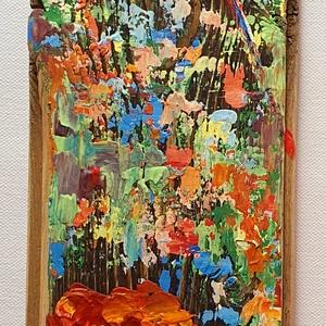 2 szál piros , Művészet, Festmény, Akril, Famegmunkálás, Festészet, Újrahasznosított, régi falapon akril festés, festőkéssel.\n\nSaját ötlet és eredeti kézi festés egy ré..., Meska