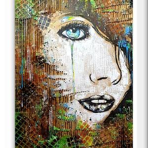 Lány absztrakt - hullám , Művészet, Festmény, Akril, Festészet, Újrahasznosított alapanyagból készült termékek, 42 X 54 cm- es hullamkarton lapon, vegyes media mix technikával elkövetett festésem :), \negyedi kézi..., Meska