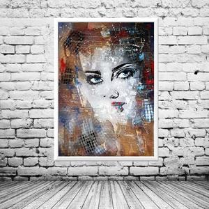 Hullám lány absztrakt 2. , Művészet, Festmény, Akril, Festészet, Hullámkarton technika, akril festék, média mix anyaghasználat, egyedi struktúra :) \n\nEgyedi darab, i..., Meska