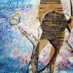 Hullám lány absztrakt 5. - Éjjeli pillangó , Művészet, Festmény, Akril, Festészet, Újrahasznosított alapanyagból készült termékek, 42 X 54 cm- es hullamkarton lapon, vegyes media mix technikával elkövetett festésem :), \negyedi kézi..., Meska