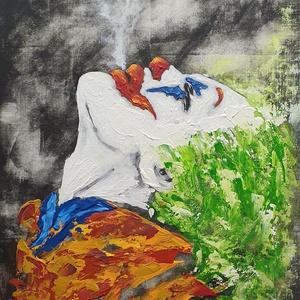 Joker , Művészet, Festmény, Akril, Festészet, A karakter ismert, én akril anyag használatával gondoltam át picit, megfestve egy 30 x 40 cm-es vász..., Meska