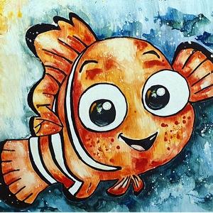 Mosoly halacska , Művészet, Festmény, Akril, Festészet, Mosoly, színek, formák, kedvesség :) \n\n23 x 27, 5 cm-es újrahasznosított  bútorlapra festett kedvess..., Meska