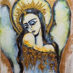 Arany angyal, Művészet, Festmény, Akril, Festészet, Különleges munkám ő, egy réges régi fadarabon akril festés.\n\nSzép hangulatot visz az otthonodba, ha ..., Meska