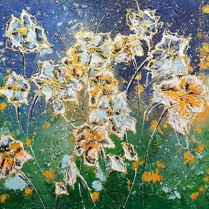 """Aranyos rét èj, Művészet, Festmény, Akril, Festészet, \""""Aranyos rét éj \""""\n\nOSB lapra készült hangulat -tájas akril festésem, 42 x 34 cm es felületen.\n\nEgyed..., Meska"""