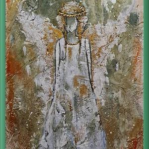 """Arany angyal 3., Művészet, Festmény, Akril, Festészet, \"""" Arany angyal 3. \"""" \n\nOSB lapra készült akril festés a harmadik darabja az angyalos-sorozatomnak. \n\n..., Meska"""