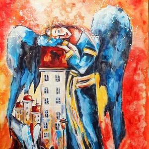 Arany angyal 6. - Világvigyázó, Művészet, Festmény, Akvarell, Festészet, Az angyal- sorozatom 6.része...\n\n30x 40 cm-es kasírozott vászonra készült akvarell festésem.\n\n\nEgyed..., Meska