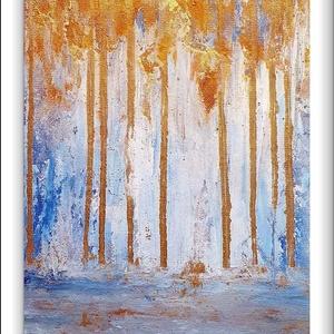 """Arany angyal 5.- Angyalerdő, Művészet, Festmény, Akril, Festészet, \""""Arany angyal 5. -Angyalerdő\""""\n\nA sorozat ötödik része, most újrahasznosított faroston, eléggé szép m..., Meska"""