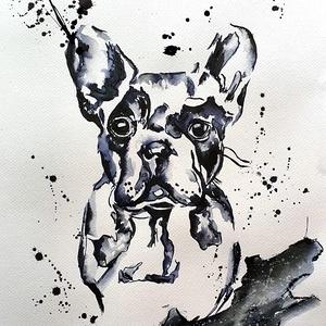 Kutyus , Művészet, Festmény, Akvarell, Festészet, Tus rajz/festés, egy kutyusportré :) \n\n30 x 40 cm-es, 250 g/m2 -es akvarell lapra készült kézi festé..., Meska