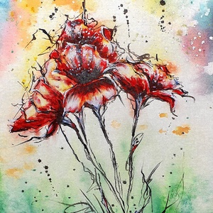 Aranyló éj alatt virágos , Művészet, Festmény, Akvarell, Festészet, Virág, most kicsit másképpen :) \n\nAkvarell festés, tustinta linearttal, 30 x 50 cm*es vászonfedett f..., Meska