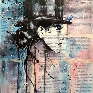 Tanítás 5. - Madár , Művészet, Festmény, Festmény vegyes technika, Famegmunkálás, Festészet, Loui Jover szenzációs alkotó, a maga stílusában, anyaghasználatában. \nMagamnak lefordítva ezt ismét ..., Meska