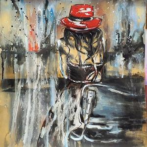 """Kèk eső, Művészet, Festmény, Akril, Festészet, \"""" Kék eső \"""" \n\n37 x 39 cm-es réges régi kartonon fekete  tustinta /akril festés, szabadon :) \n\nA kép ..., Meska"""