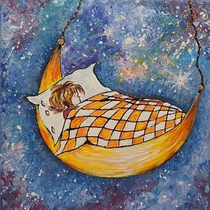 Jó éj, Kicsi :), Művészet, Festmény, Akril, Festészet, 20 x20 cm- es feszített vásznon akril festés, saját kézzel, ecsetekkel.\n\nSzèp hangulat, kedves ajánd..., Meska