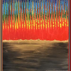 Szivárvány erdő 1., Művészet, Festmény, Akril, Famegmunkálás, Festészet, 62 x 48 cm-es régi fa-bútor részén akril elképzelés, festőkéssel.\n\nSzínek, mesélés, gondolkodni való..., Meska