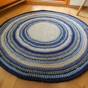 Horgolt   szőnyeg /  Mandala , Otthon, lakberendezés, Lakástextil, Szőnyeg, Horgolás, Különleges, makaróni fonalból horgolt szőnyeg.  mérete 135  cm átmérő 1  cm vastag puha, rugalmas, ..., Meska