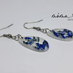 Kék virágos csepp műgyanta fülbevaló - Meska.hu