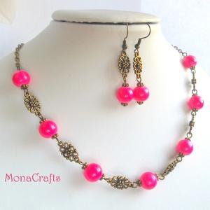 Forest Fruit ékszerszett  - pink - bronz üveg nyakék és fülbevaló (MonaCrafts) - Meska.hu