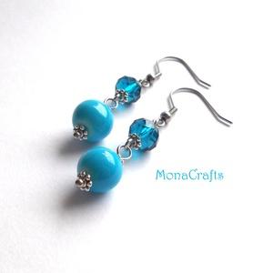 Abigél - kék üveg és kristály fülbevaló (MonaCrafts) - Meska.hu