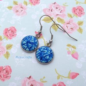 Vanda - kézzel festett textilgomb fülbevaló acélból (MonaCrafts) - Meska.hu