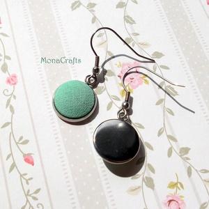 KIFUTÓ TERMÉK! Patrícia - kézzel festett textilgomb fülbevaló acélból (MonaCrafts) - Meska.hu
