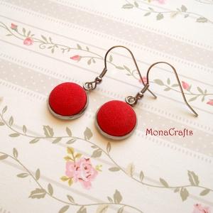 Piroska - kézzel festett textilgomb fülbevaló acélból (MonaCrafts) - Meska.hu